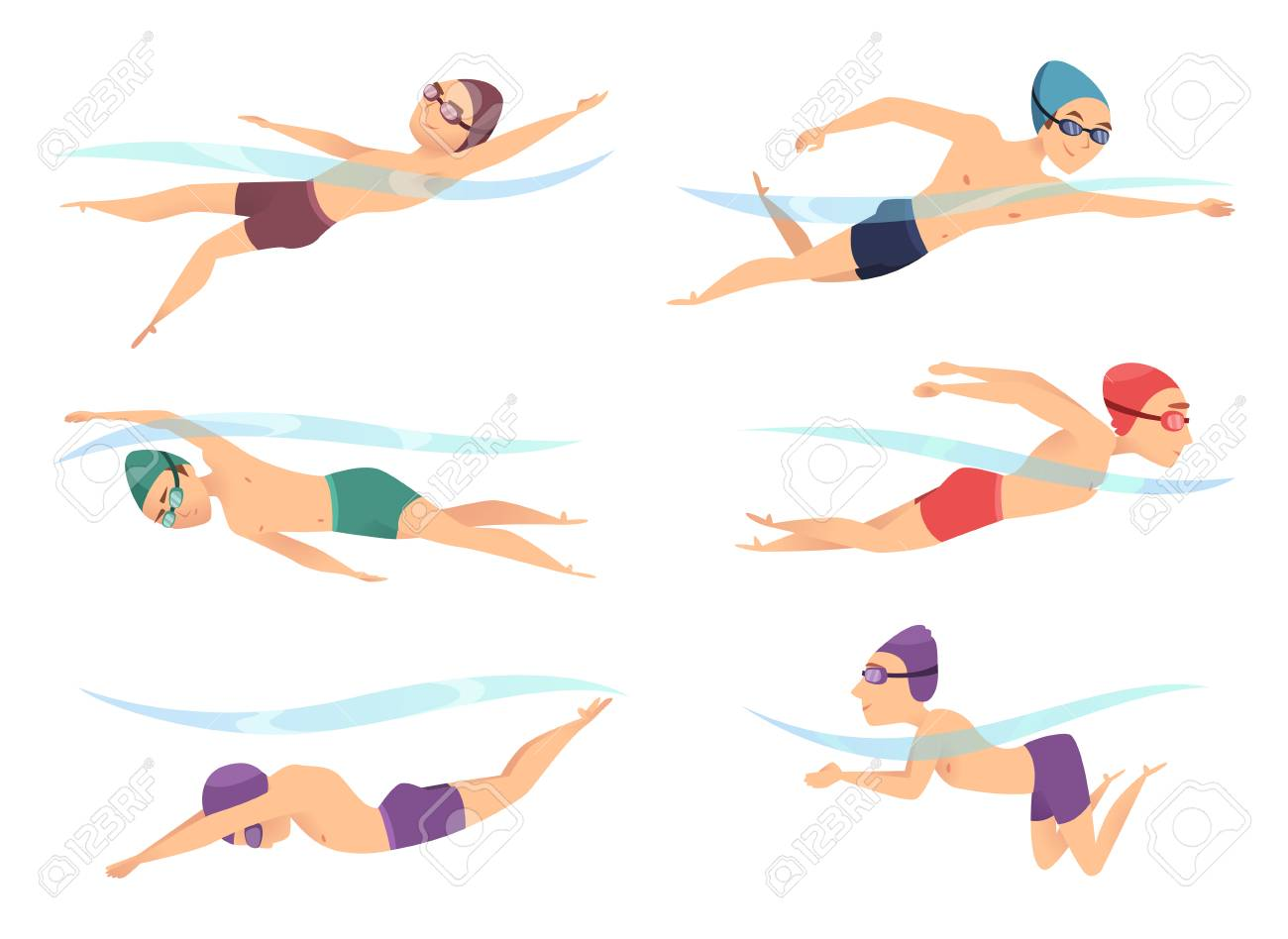 Swimmers at various poses. Cartoon sport characters in poll action poses crawl, breaststroke and butterfly, vector illustration - 111653483