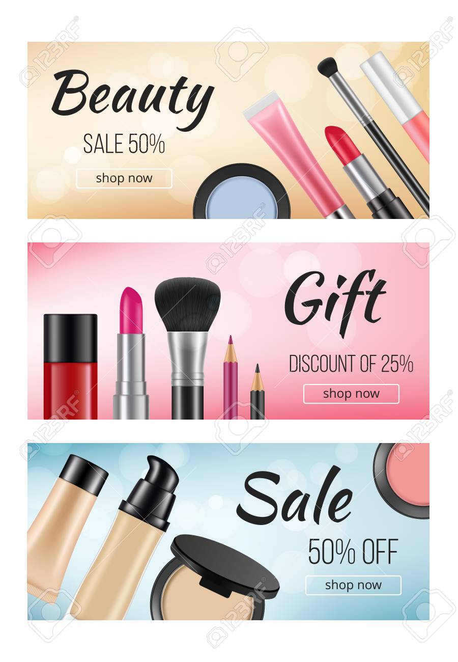 Banners Of Cosmetics Design Template Of Horizontal Banners With Royalty Free Cliparts Vectors And Stock Illustration Image 110259154