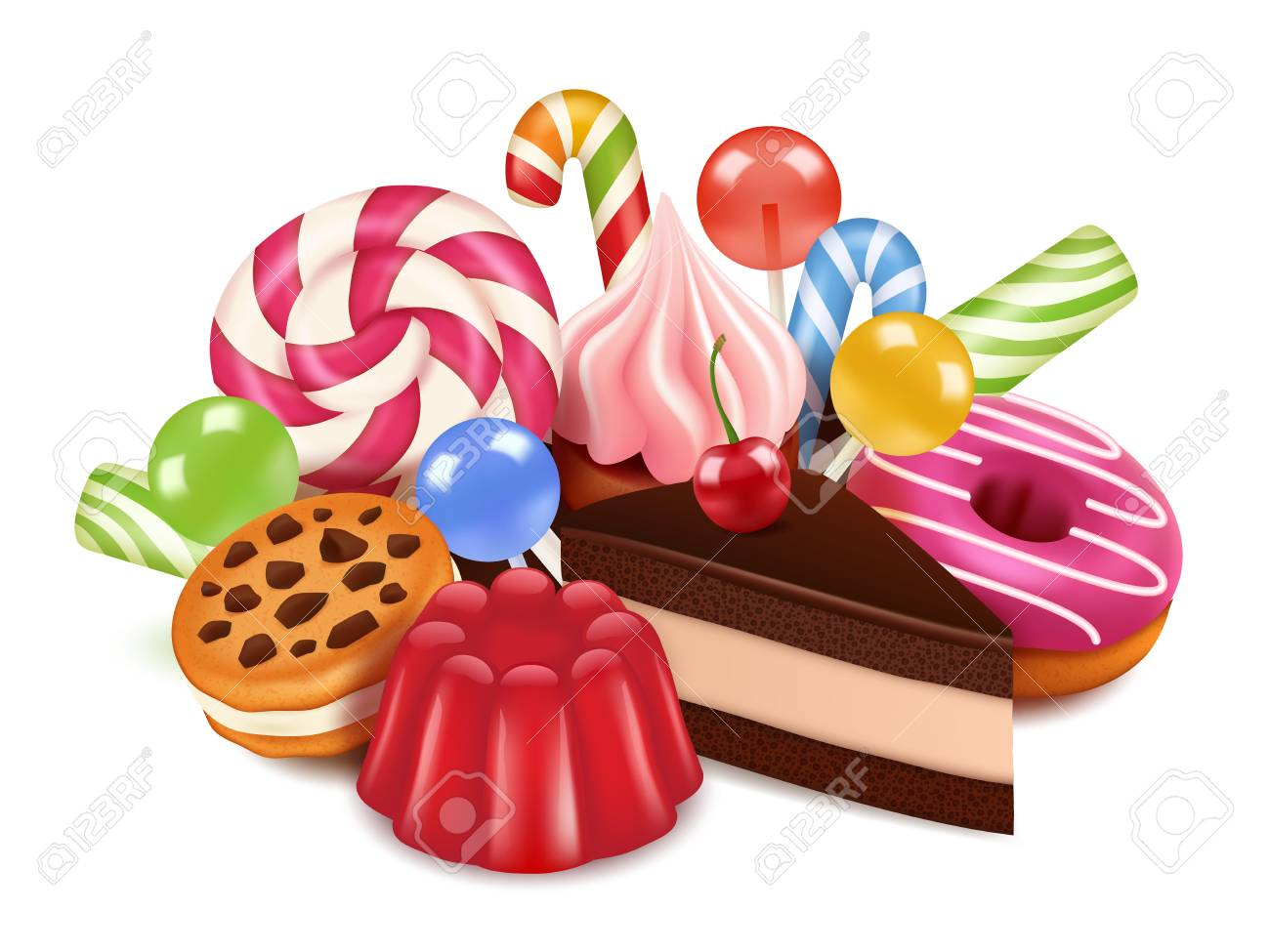 Dessert illustrations. Background with homemade cakes, chocolate candy lollipop and sweets. Vector high res pictures of tasty desserts. Illustration of confectionery, delicious yummy dessert - 110236972