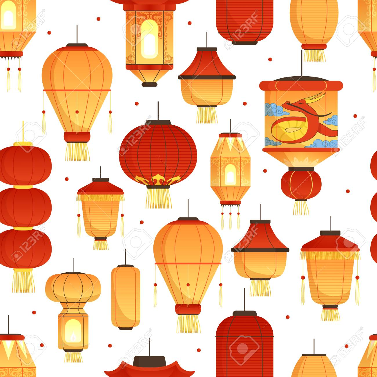 china lanterns pattern asian traditional new year colored paper