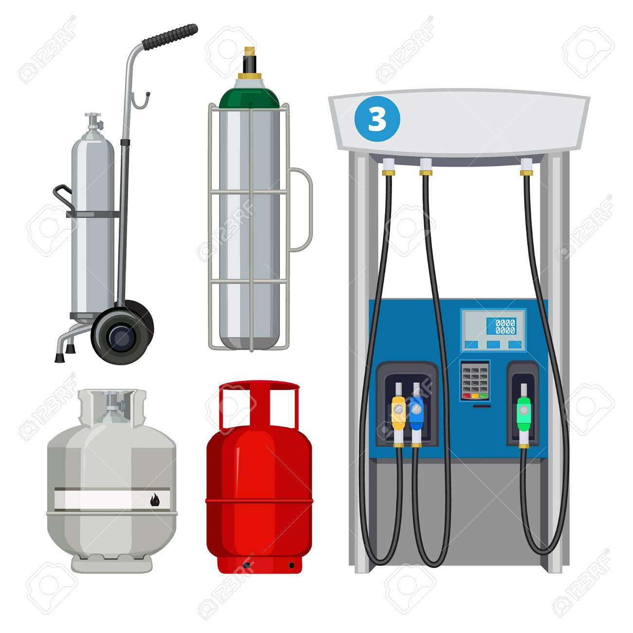 Gas station. Pumping petrol types metal tank cylinders vector illustrations of petrol pumps. Gas pump, petrol station, industry petroleum and gas fuel balloon - 109646788