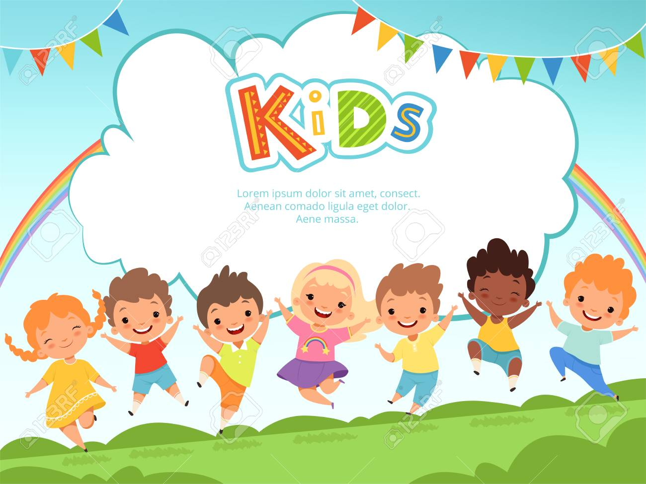 Children jumping background. Happy kids playing male and female on playground vector template with place for your text. Happy girl and boy, play fun jumping, friendship and childhood illustration - 108984594