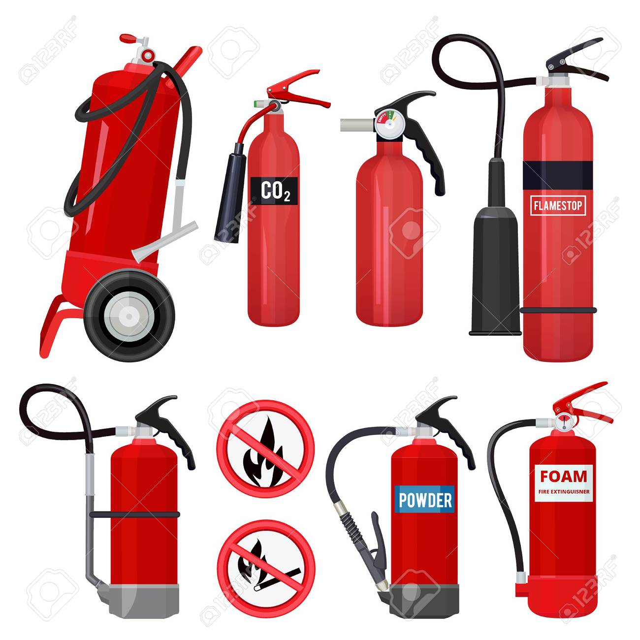 red fire extinguishers. firefighters tools for flame fighting