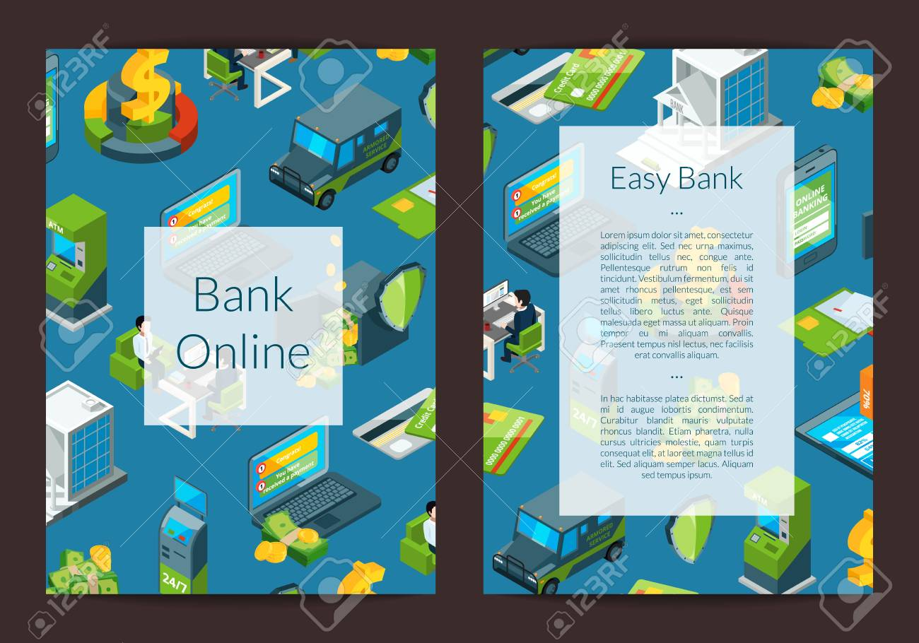 vector isometric money flow in bank icons card or flyer template