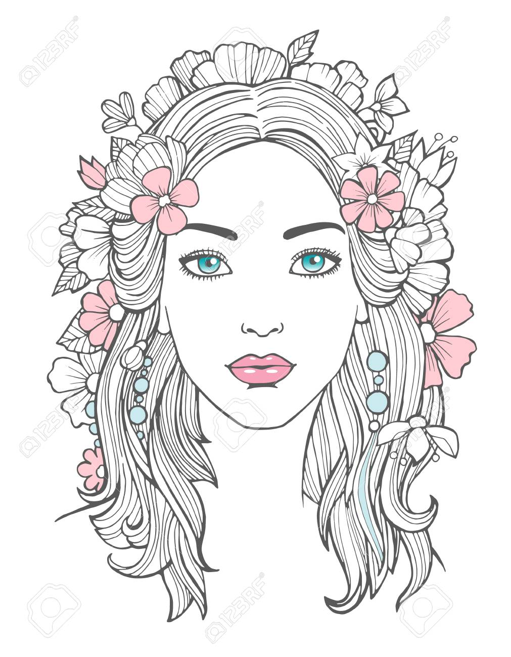 Beautiful woman portrait mysterious drawing beauty young female with flowers in hair vector art