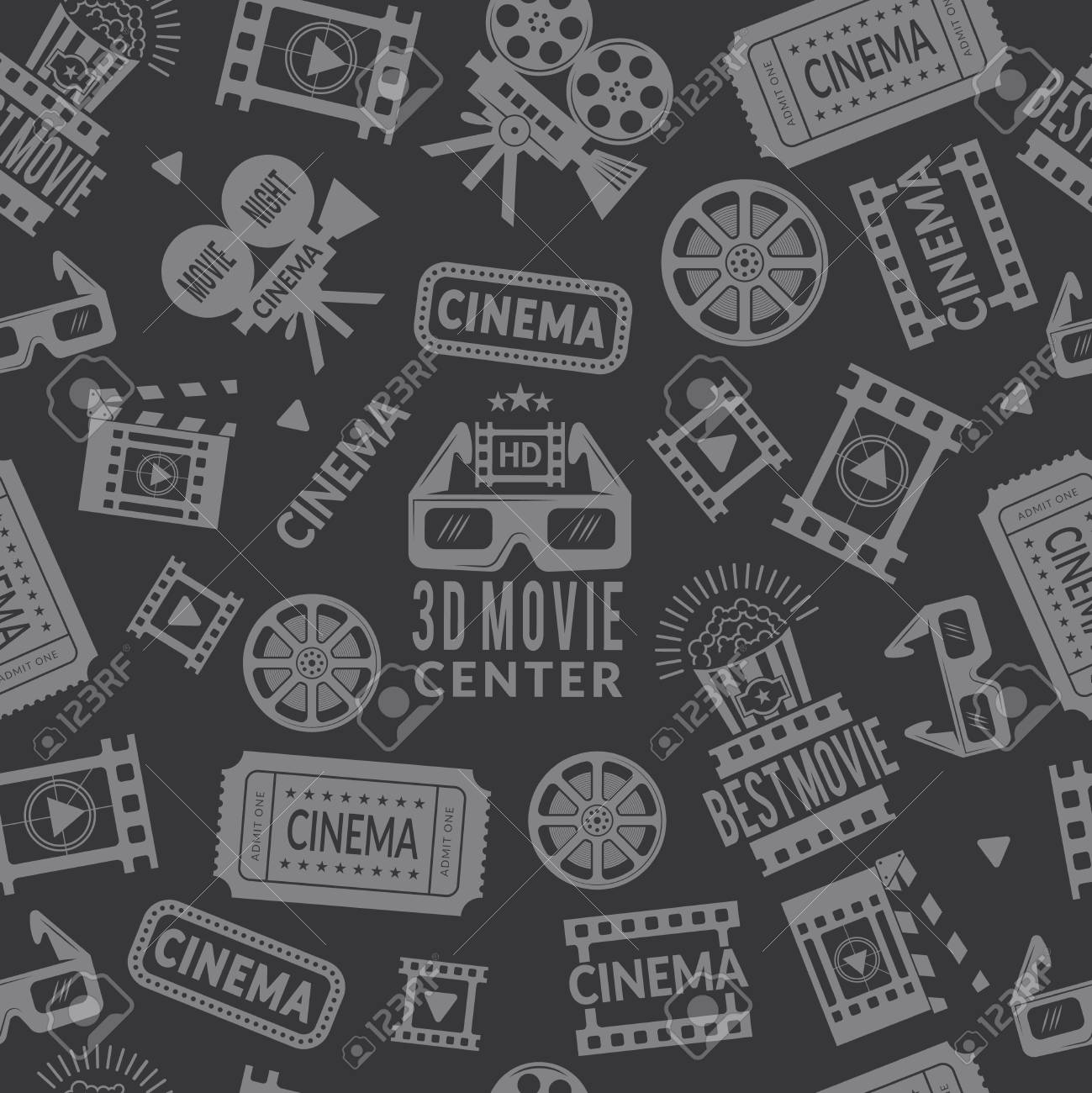 buy popular 9c9af 756c9 Cinema pattern. Seamless background with symbols of cinema and films  production. Vector cinema production
