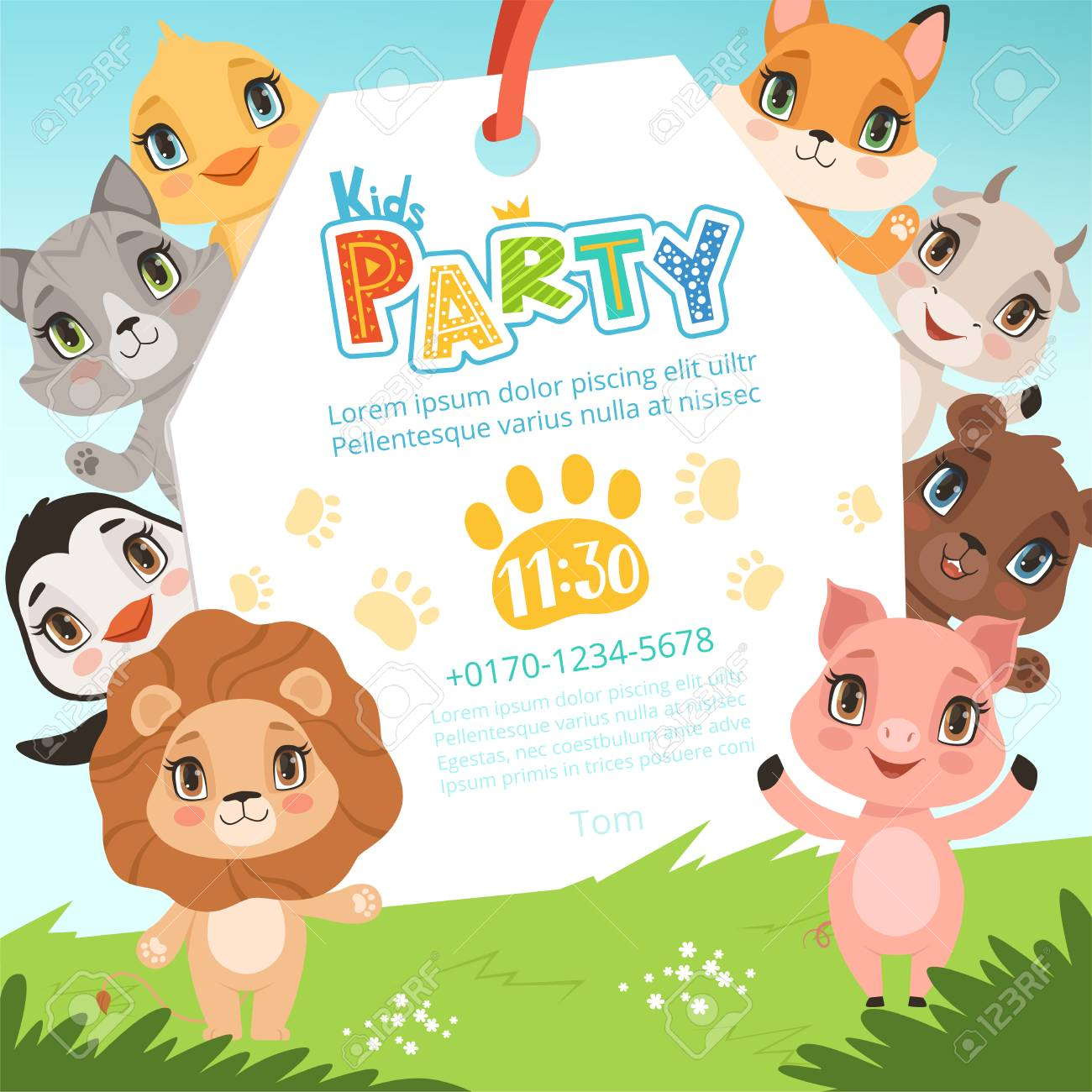 Animals Kids Invitations Cute Funny Jungle Animals In Cartoon Style