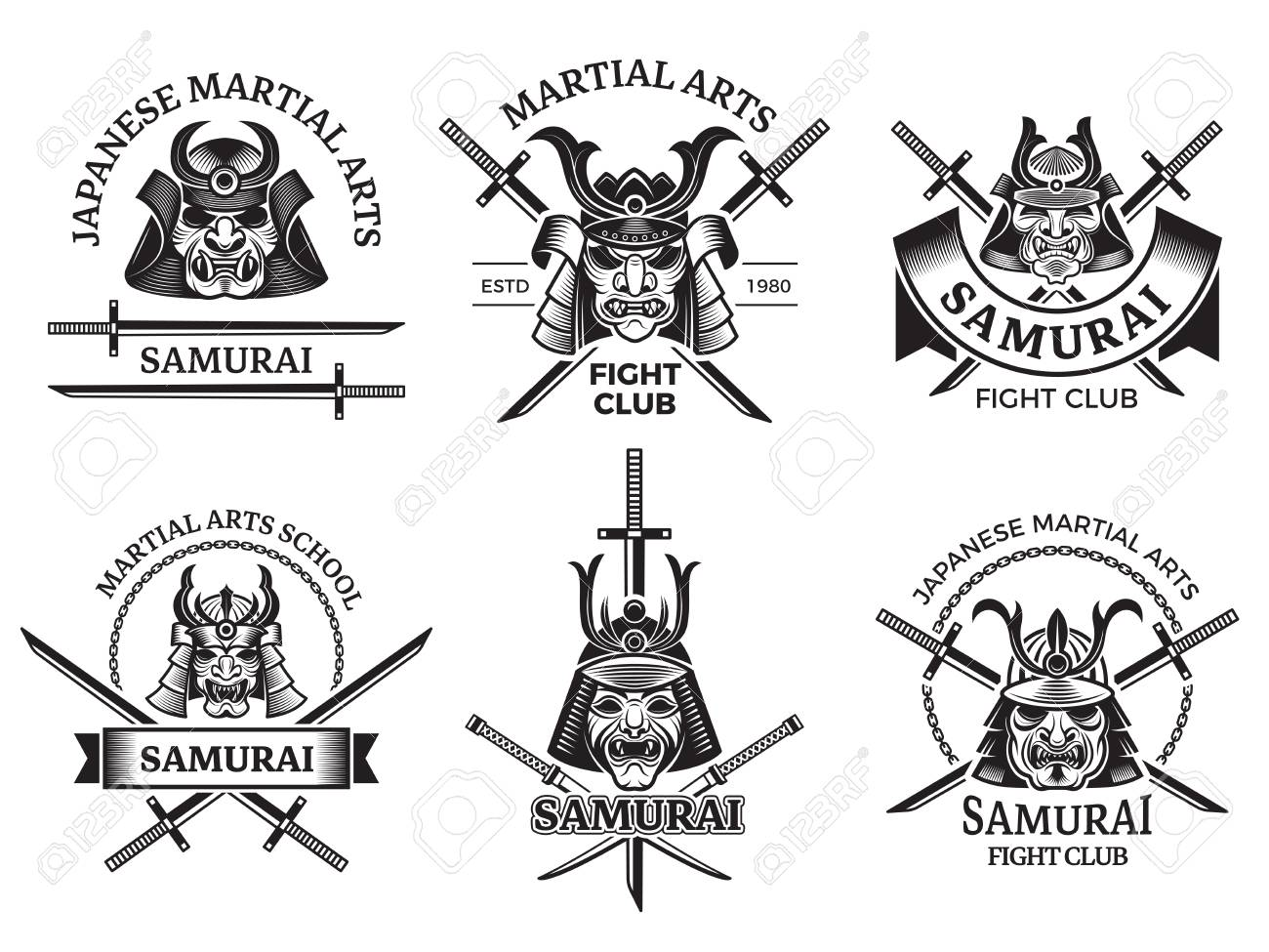 Martial Asian Labels Samurai Agressive Warrior Masks And Sword Royalty Free Cliparts Vectors And Stock Illustration Image 110607980