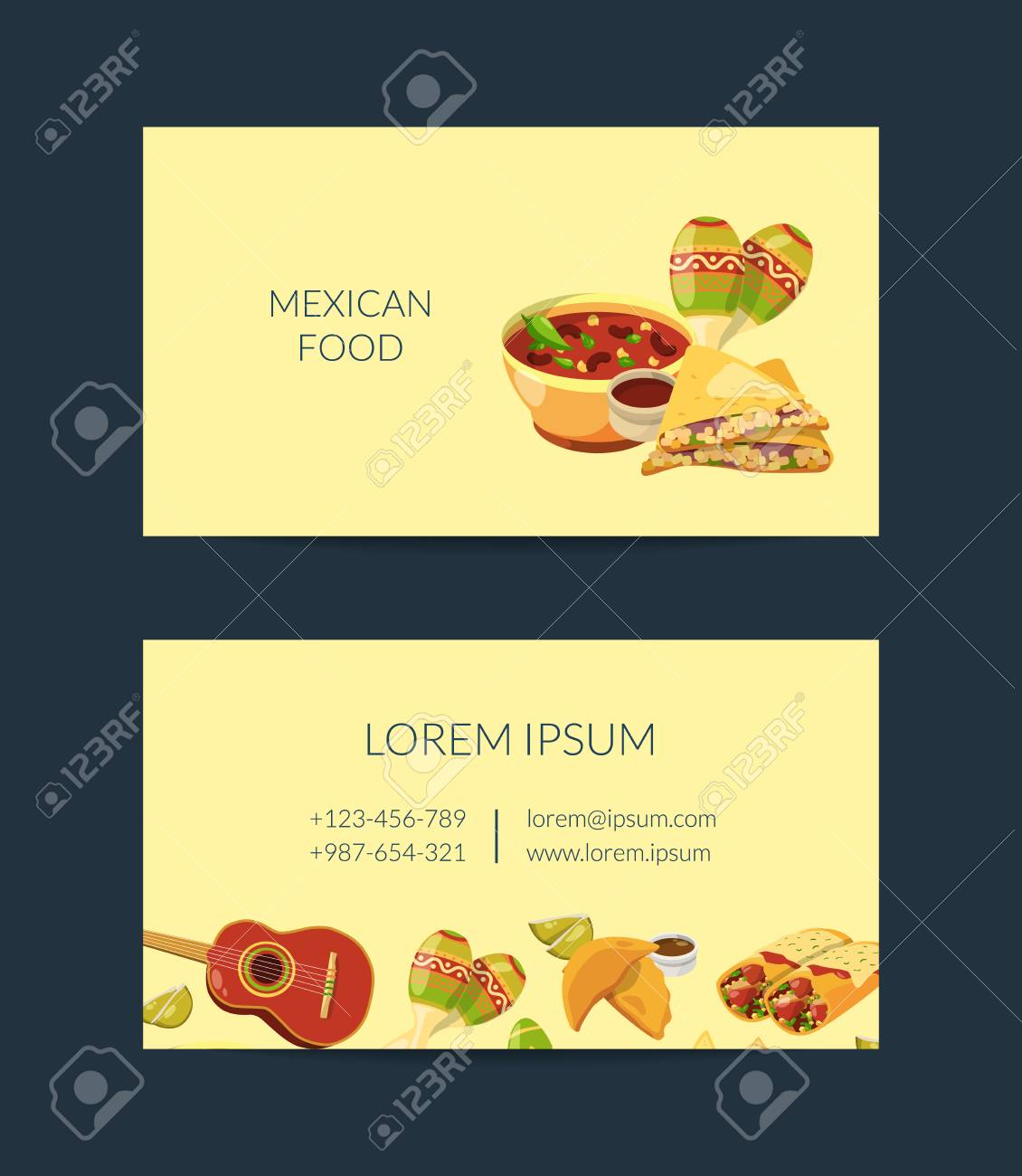 Vector Cartoon Mexican Food Business Card Template For Mexican