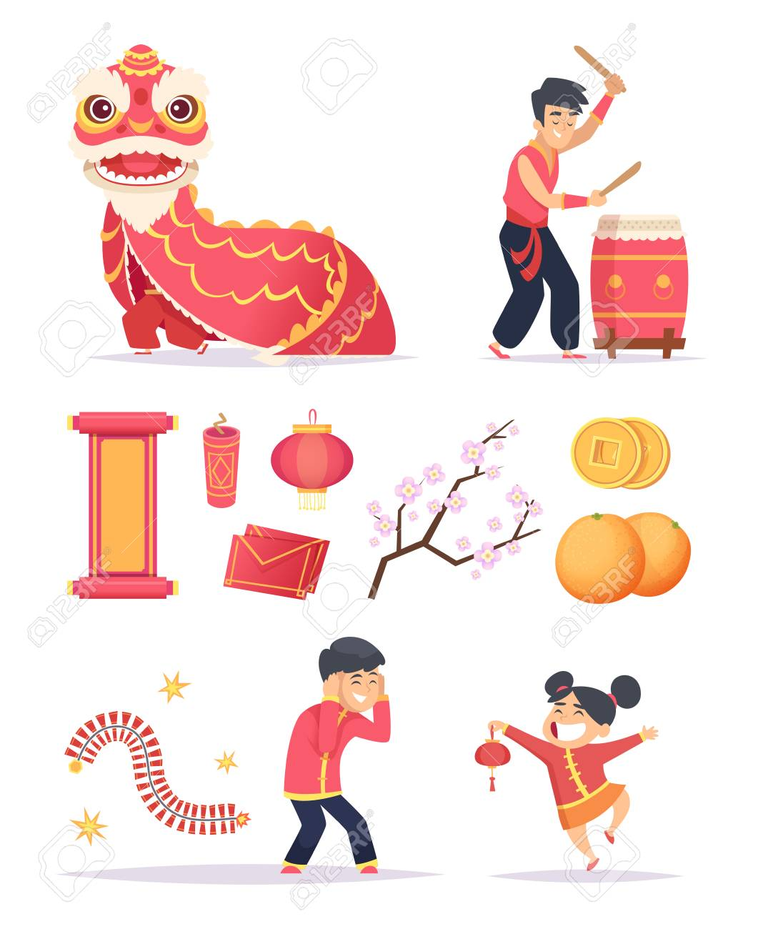 chinese new year dragon firecrackers paper lantern and happy kids characters celebrate 2019 vector pictures