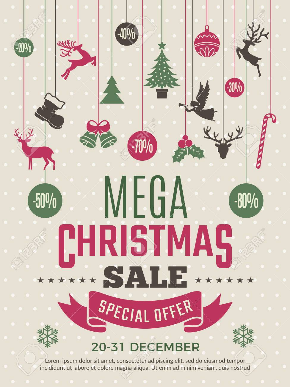 Christmas Poster For Big Sales New Year Voucher Deals Discounts