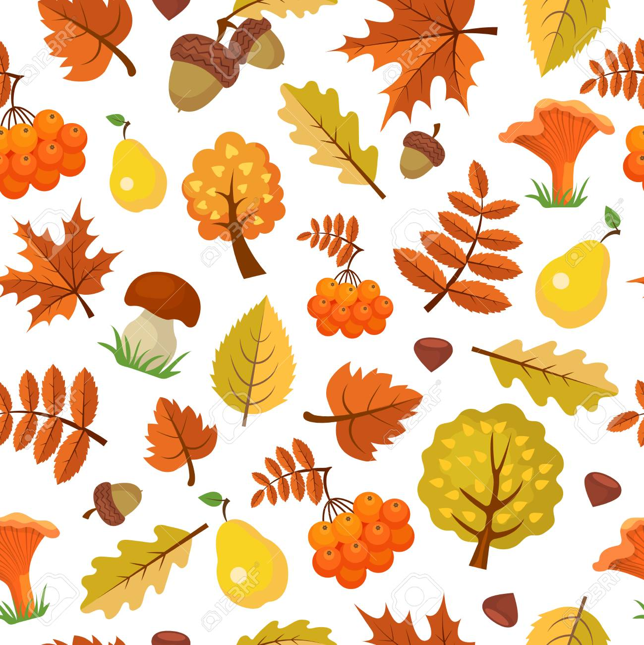 - Autumn Leaves Pattern. Forest Yellow Fall Beautiful Season Vector