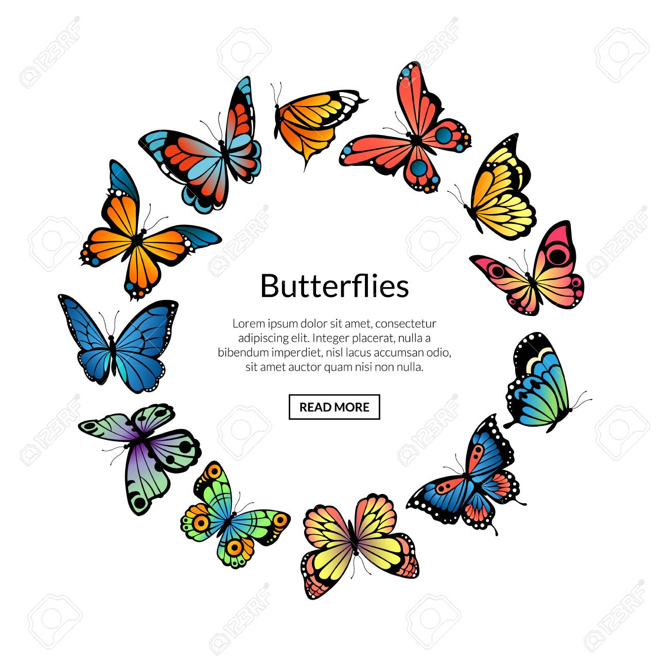 Vector Decorative Butterflies In Circle Shape With Place For Stock