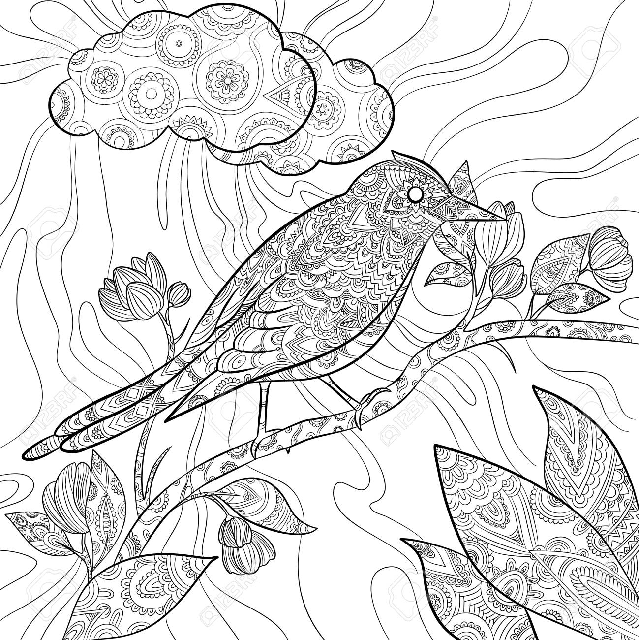 Coloring pages bird. Wild flying animal in sitting on branch..