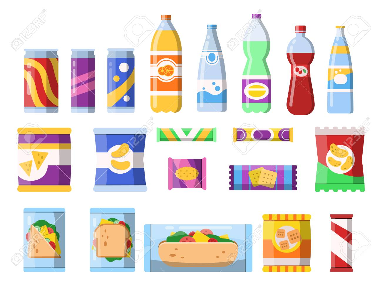 Snacks and drinks. Merchandising products fast food plastic containers water soda biscuits crisps bar chocolate vector flat pictures. Illustration of food sandwich, bottle beverage and snack - 127633930