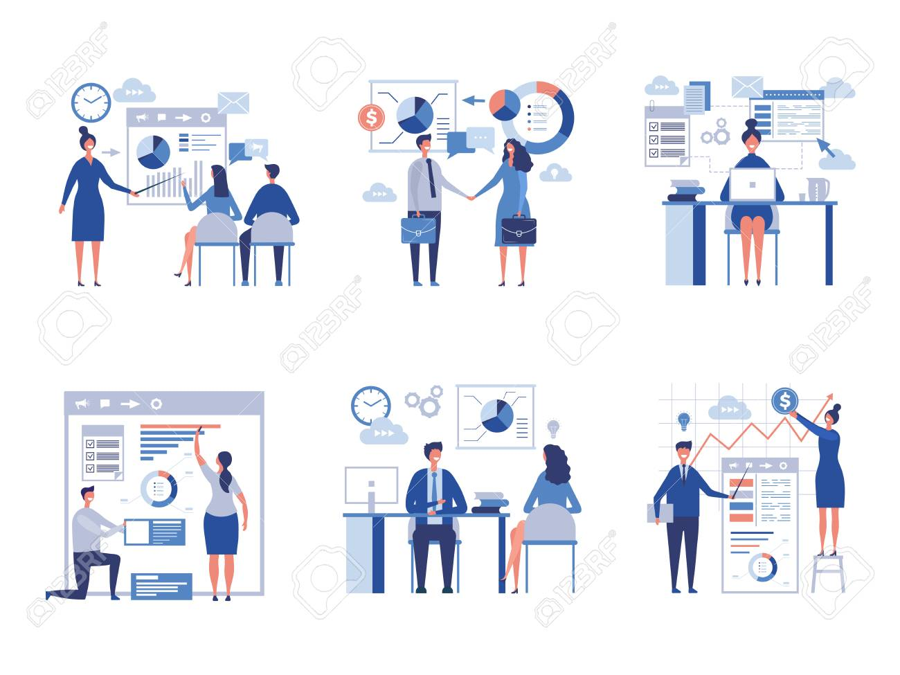 Business scene collection. Oversize abstract office characters managers directors crowd team worked vector businessmen pictures. Office employee, worker teamwork, presentation charts illustration - 113946770