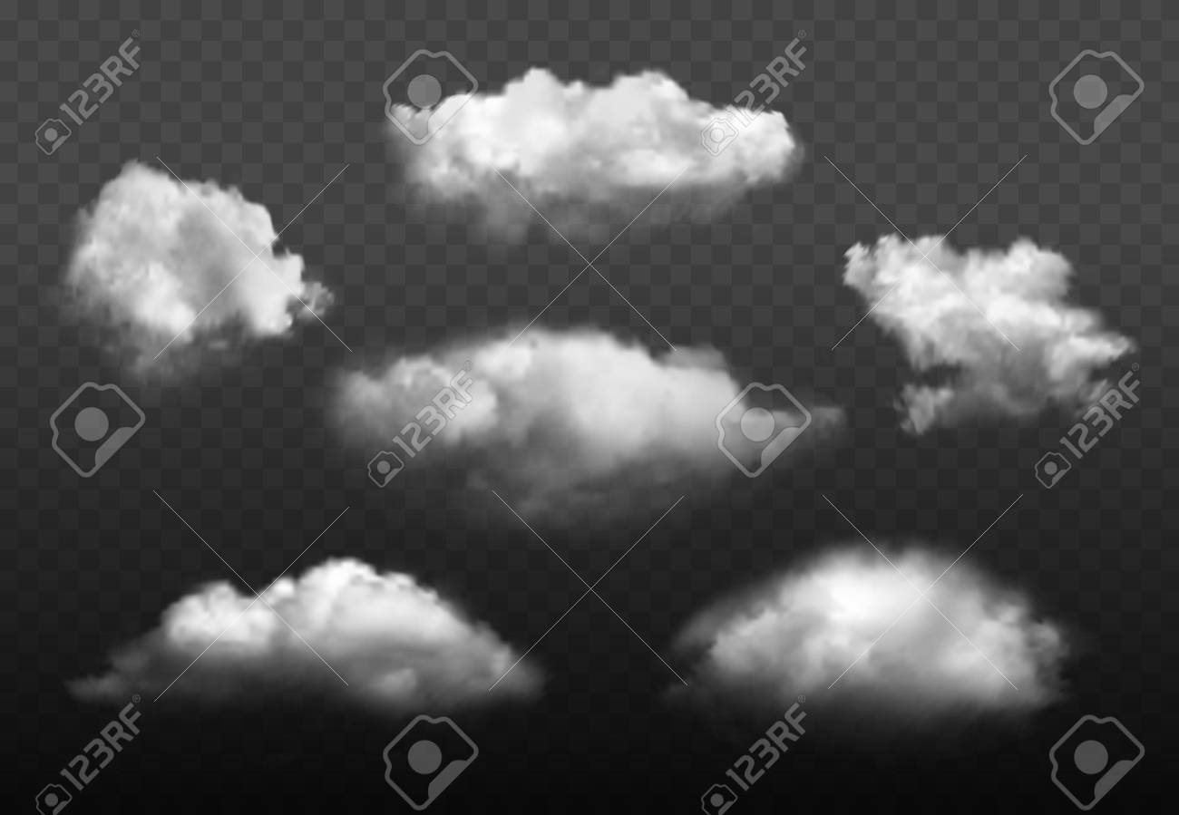 Clouds realistic. Blue cloudy sky weather elements vector picture set. Cloudy air environment, cloudscape atmosphere smoky illustration - 126078586