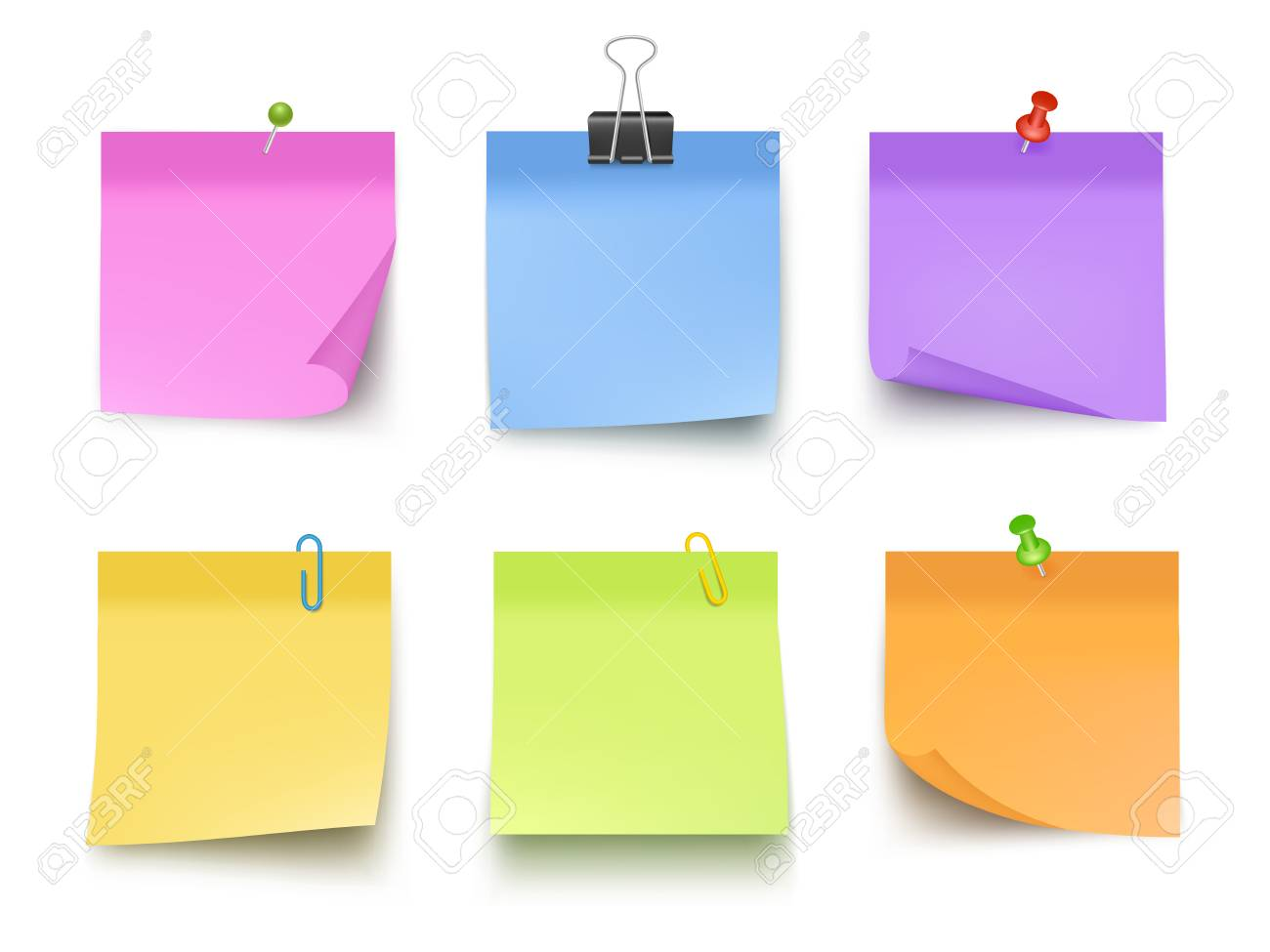 Notes colored. Sticky papers with pin clips memo bank business notes vector realistic template. Office paper memo, sticky note, pin messag illustration - 125967855