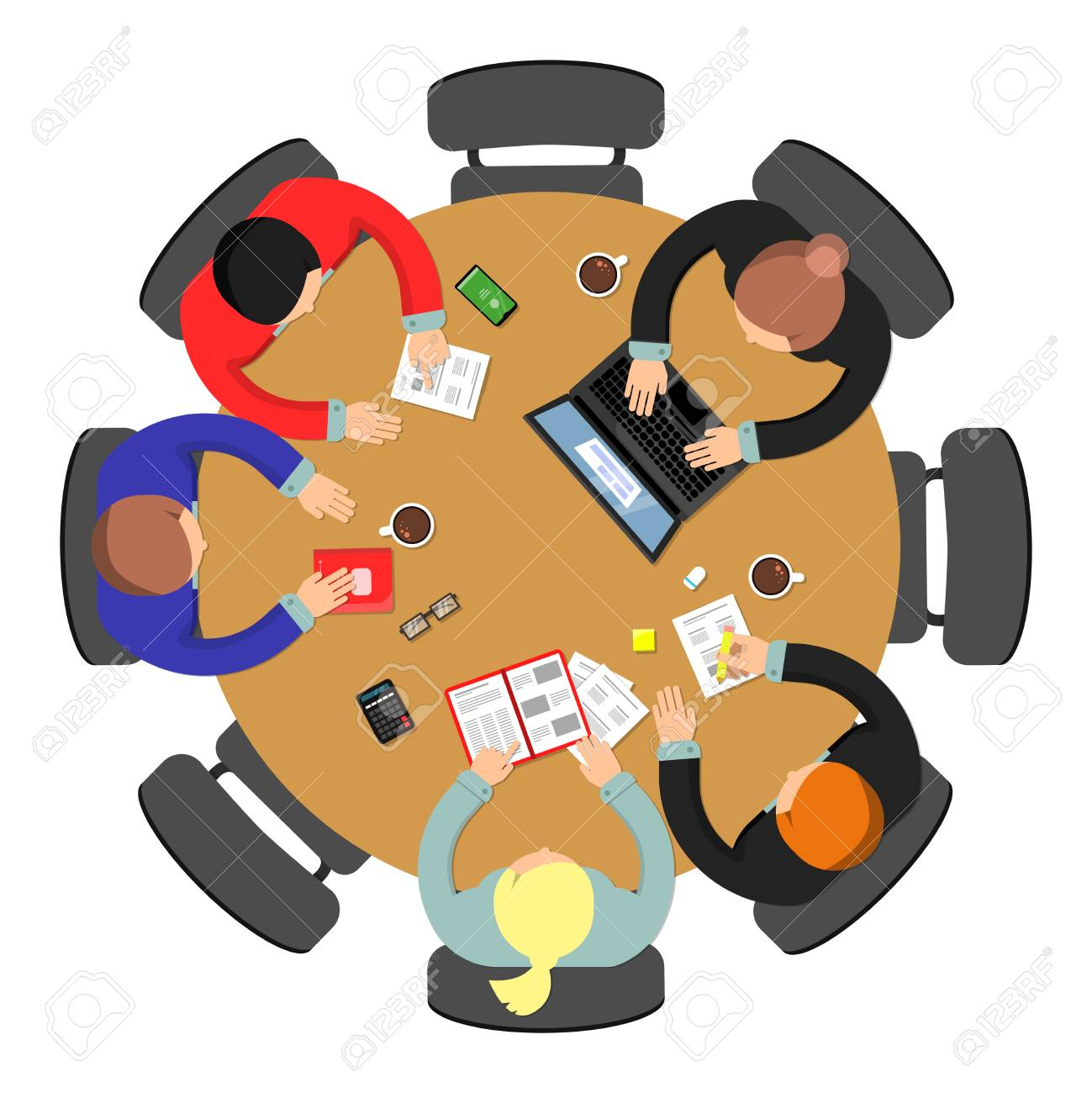 Office meeting top view. Conference group teamwork discussion at roundtable business vector concept. Illustration of office discussion group - 125640882