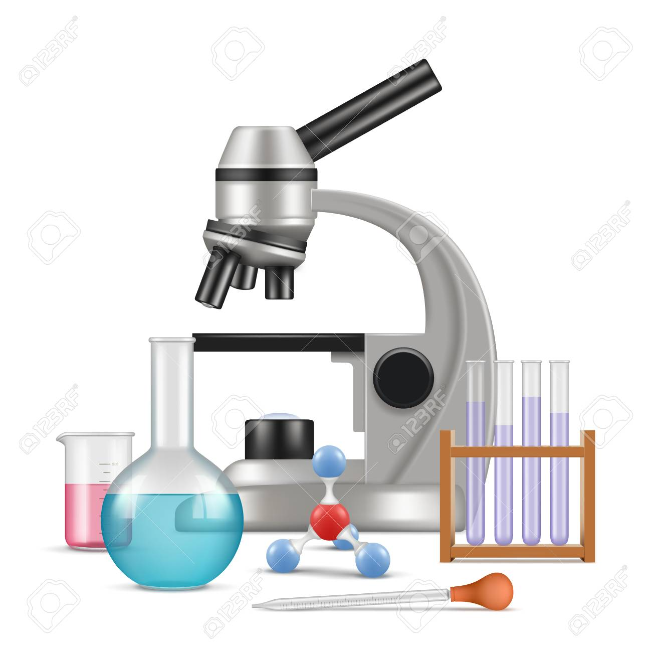 Science laboratory 3d  Biology physics items for tests and experiments