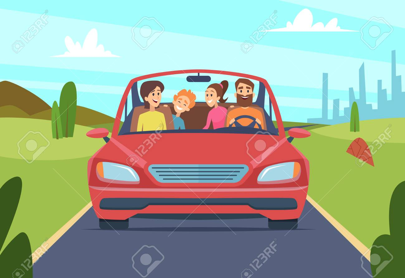 Happy family in car. People father mother kids travellers in automobile vector front view. Illustration of car with happy family, journey and drive trip - 125199809