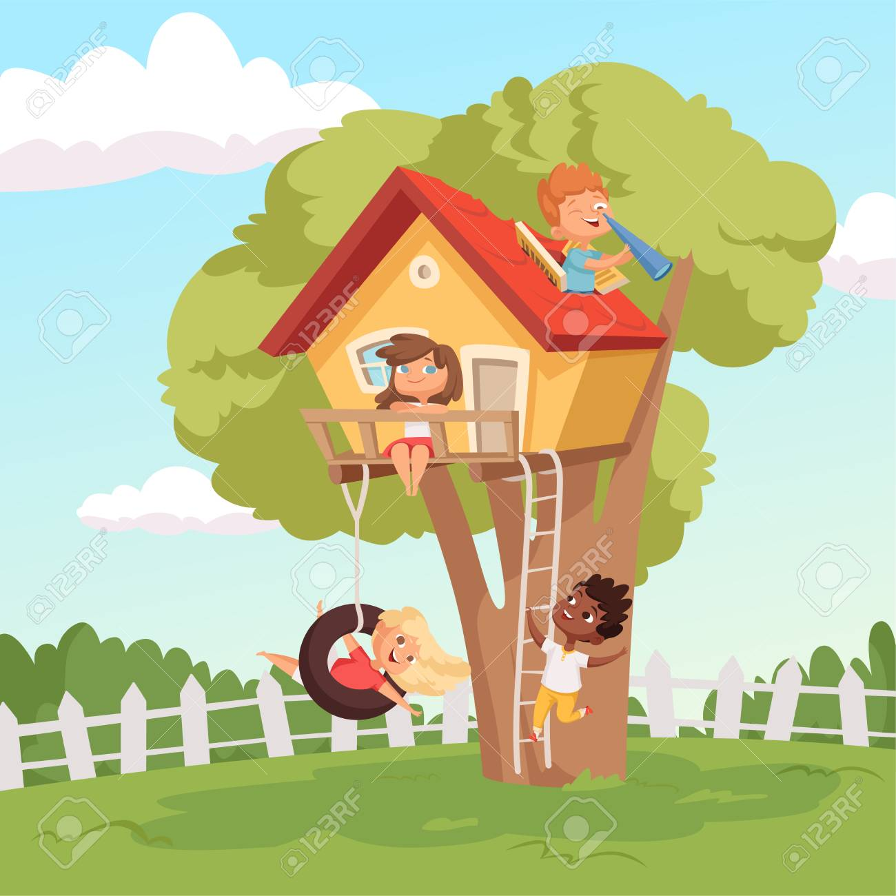 House On Tree Cute Children Playing In Garden Nature Climbing