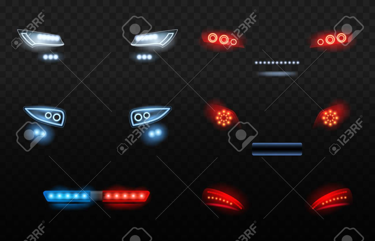 Automobile led light  Red and white car headlights in night police