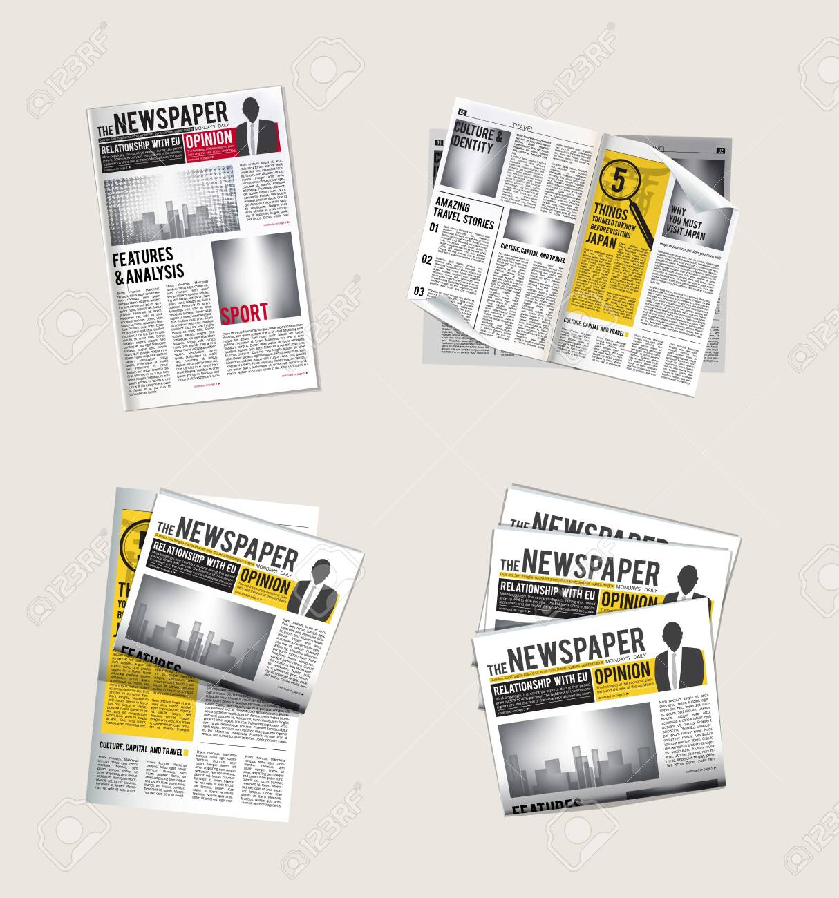 Newspapers icons. Journalist collection of reading daily news with headlines tabloid vector symbols of newspaper. Pile and stack news with headline illustration - 121220525