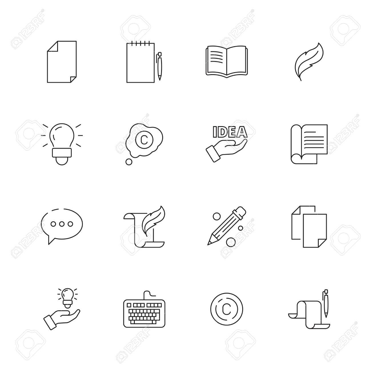 Copywriting icon  Writing creative articles book pen symbols