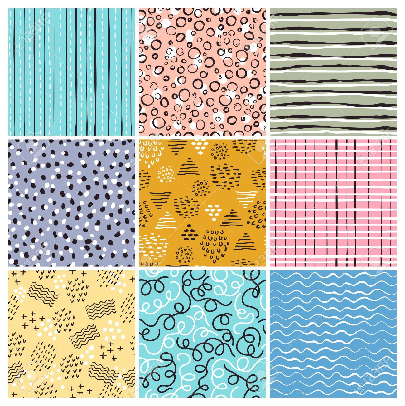 Childish Style Pattern Simple Lines Abstract Shapes Doodles Stripes Vector Seamless Textile Design Projects Illustration Of Childish Wallpaper And