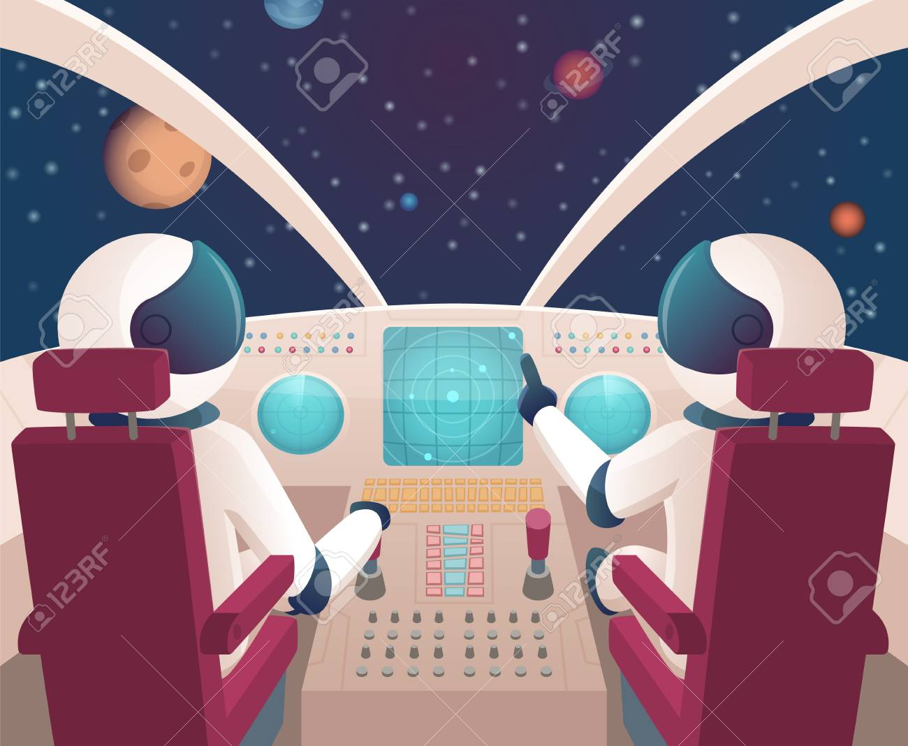 Pilots in spaceship. Shuttle cockpit with pilots in costumes vector cartoon space with planets. Illustration of rocket space cockpit interior with astronauts - 122519821