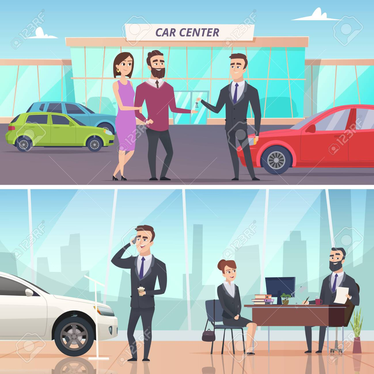 Buying car. Sell and rent auto in car exhibition advertising banners concept vector characters. Illustration of auto buy, new automobile - 124464171