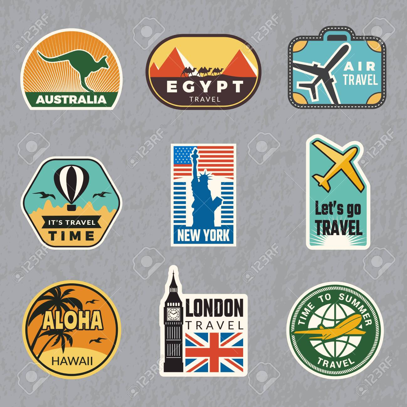Travel vintage sticker. Summer vacation labels for old luggage tropical travel vector logo collection. Illustration of travel label for luggage, sticker tag - 126069317