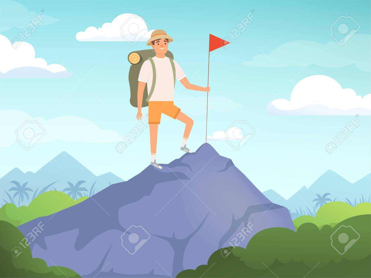 Camping characters. Hiking background people travelling nature vector concept. Illustration of tourist and tourism vacation, character outdoor hiking - 126531185