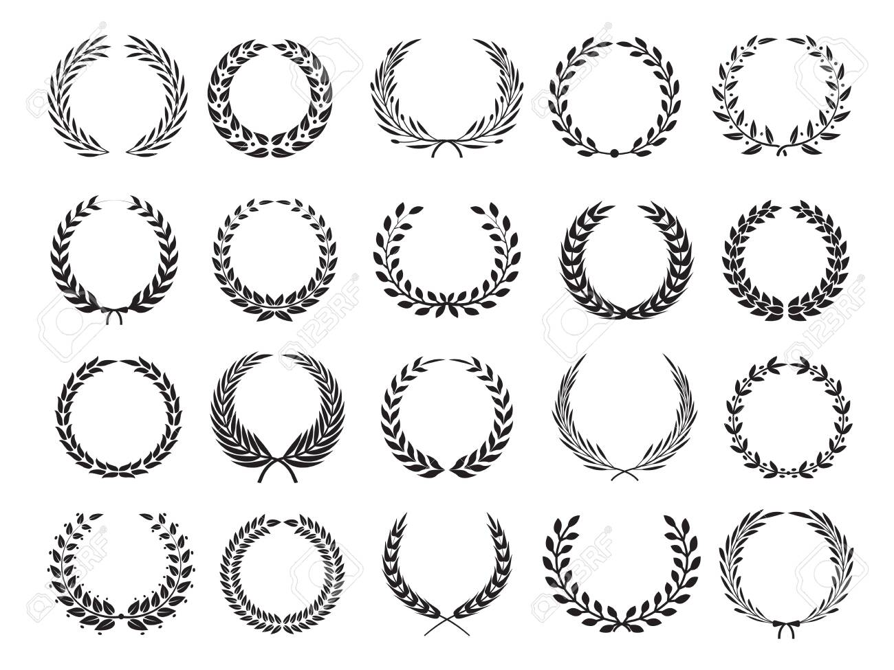 Greek branch. Circle victory award wreath with leaves vector elleents for emblems labels. Branch laurel wreath, emblem floral victory illustration - 126838379