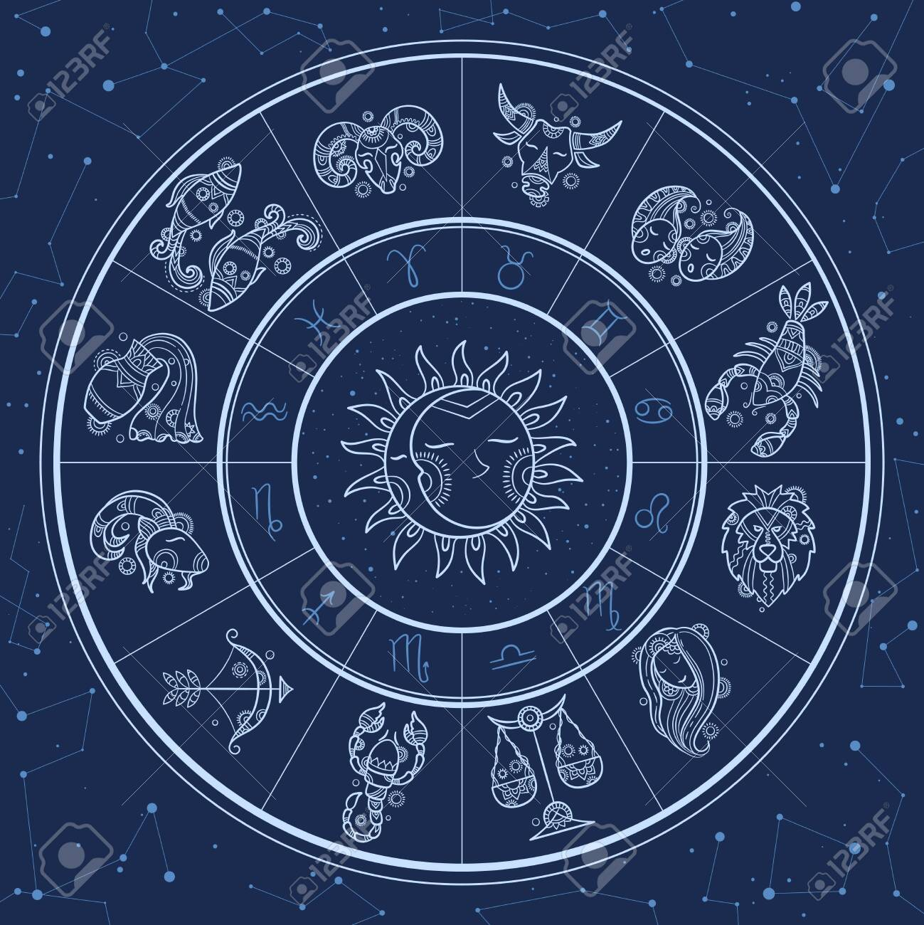 Astrology circle  Magic infographic with zodiac symbols gemini