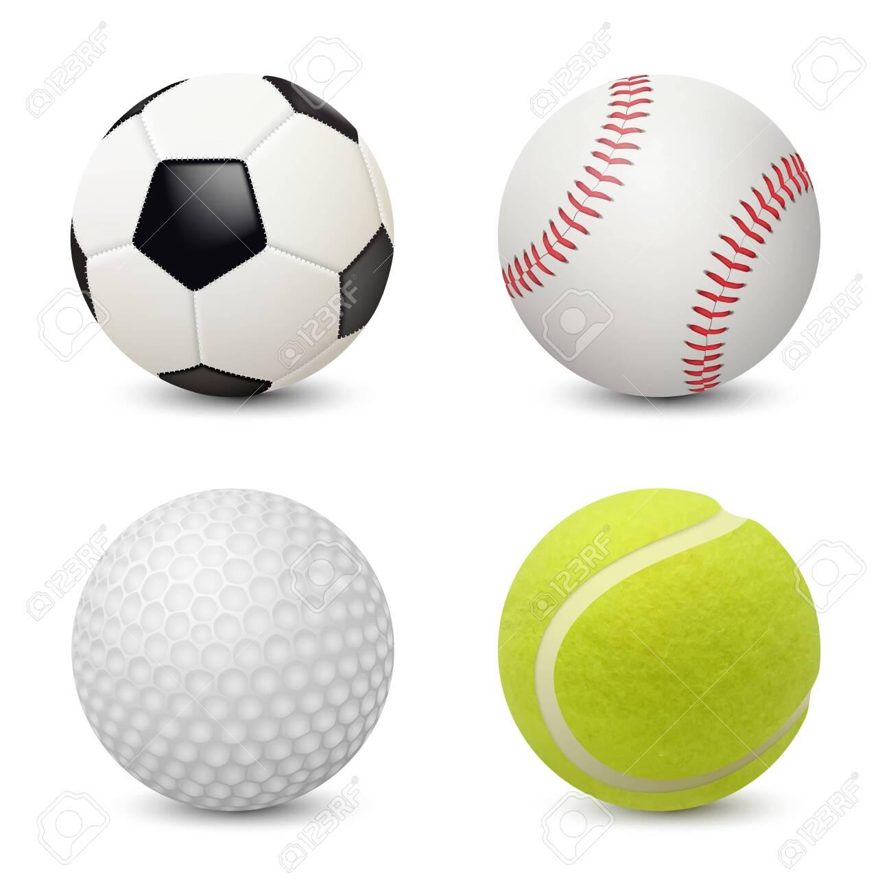 Sport balls. Baseball football tennis golf vector realistic sport equipment. Illustration of golf ball and football, tennis and soccer - 129116728