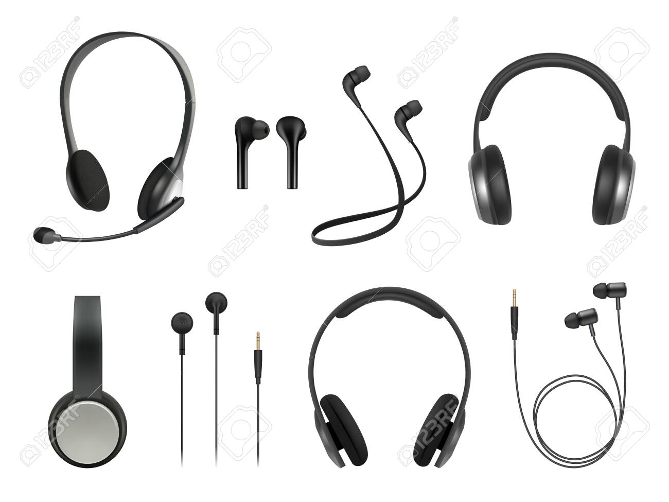Headset realistic. Earbuds music modern equipment wireless headset vector collection. Illustration headset accessory, realistic equipment headphone with microphone - 130035680