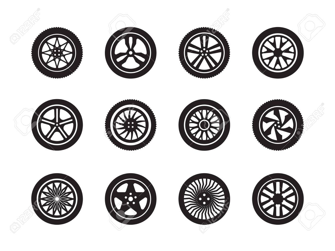 Wheels car. Tire shapes transport wheels silhouettes vector vehicle symbols collection. Illustration tire automobile wheel, silhouette rubber tyre car - 130287110
