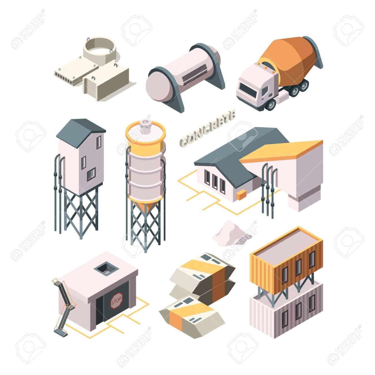 Concrete production. Cement factory industry material technology concrete mixer transport tanks vector isometric. Industry cement building, production concrete - 133630780