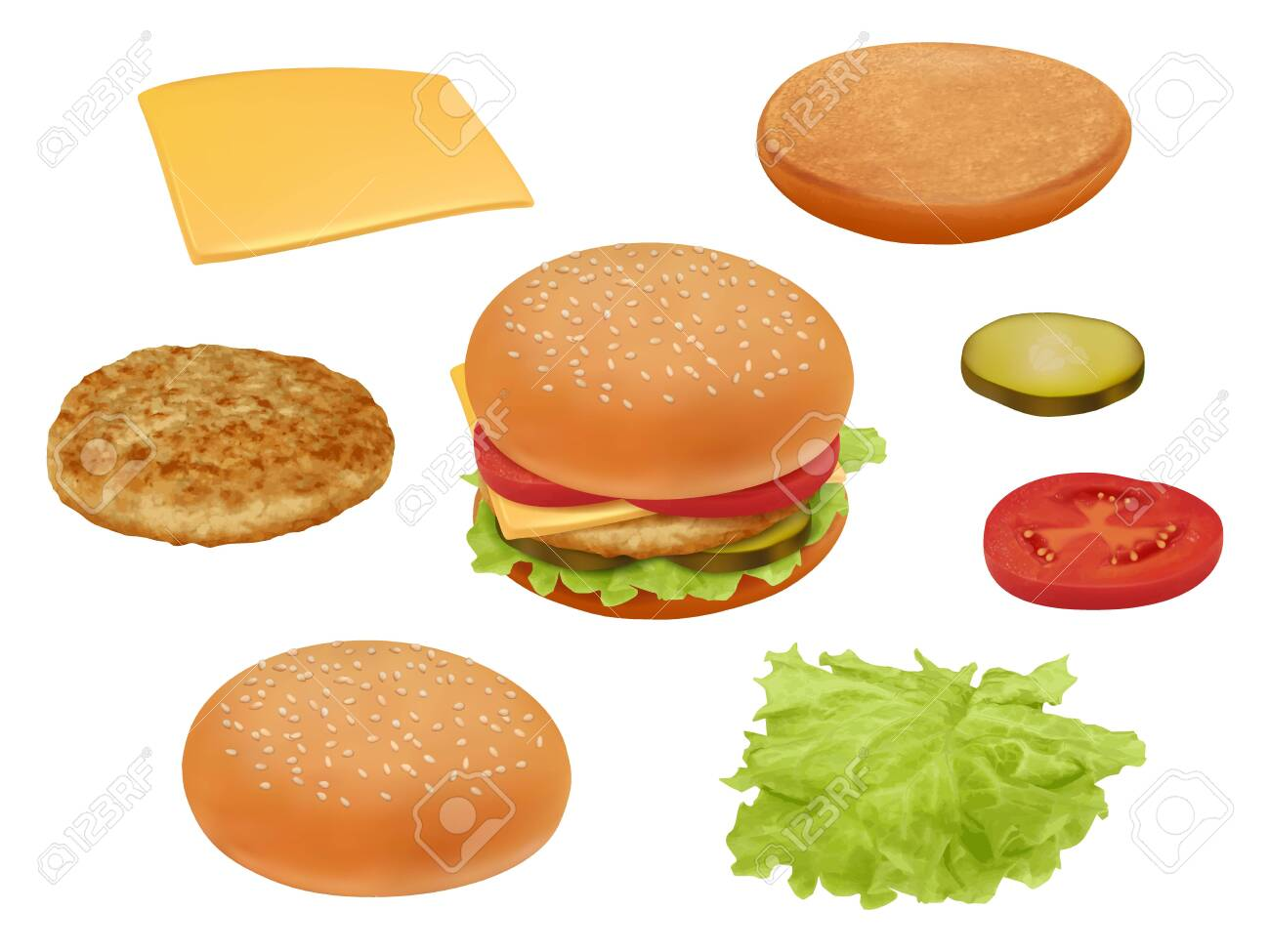 Hamburgher. Realistic fast food ingredients vegetables tomato beef meal salad delicious food vector constructor. Illustration hamburger or cheeseburger, lettuce and bread - 133932554