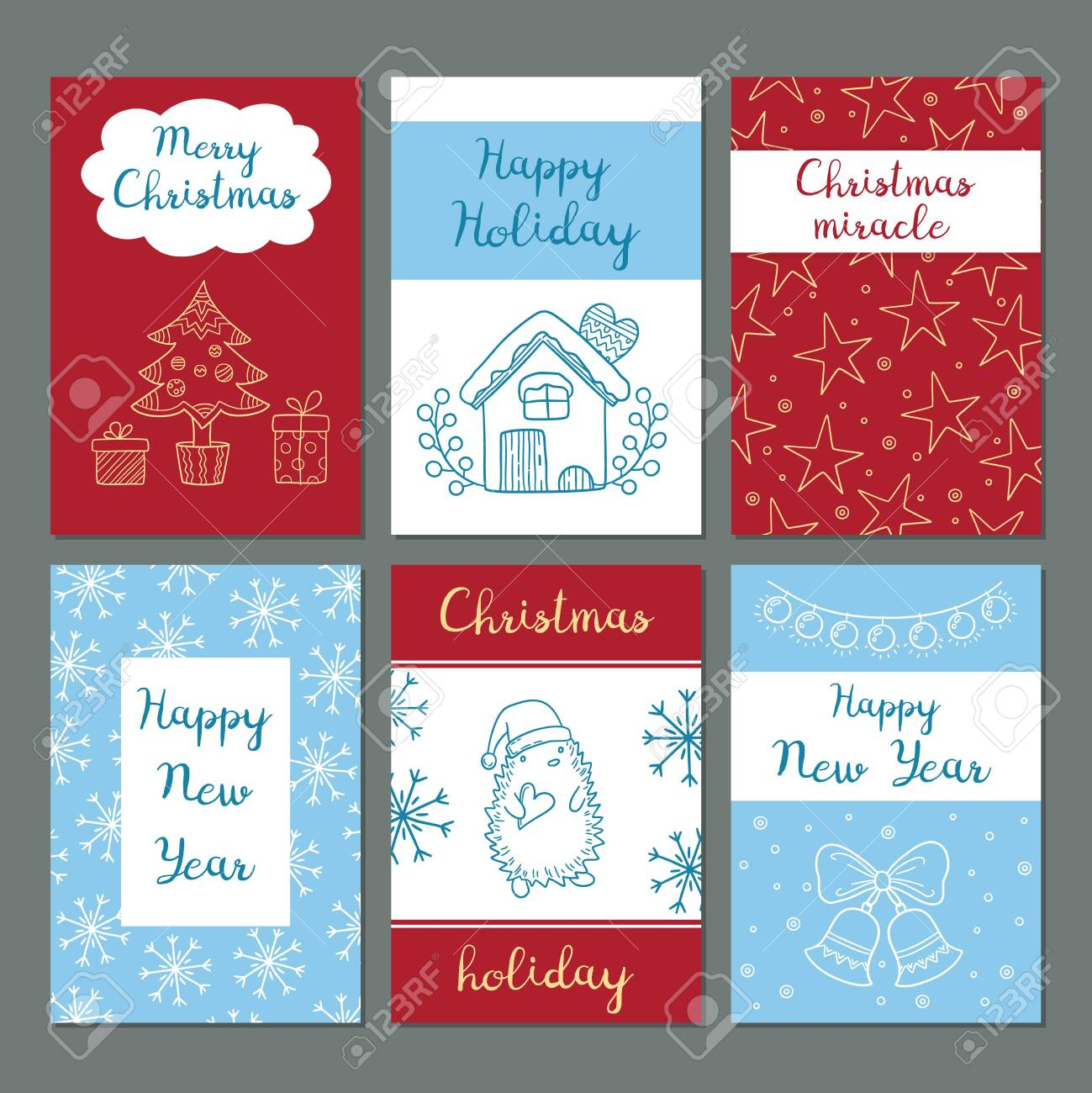 Christmas cards. Winter celebration greetings cards cute images snowflakes characters santa gifts clothes vector doodles hipster style. Winter christmas card with gift and greeting illustration - 134235911
