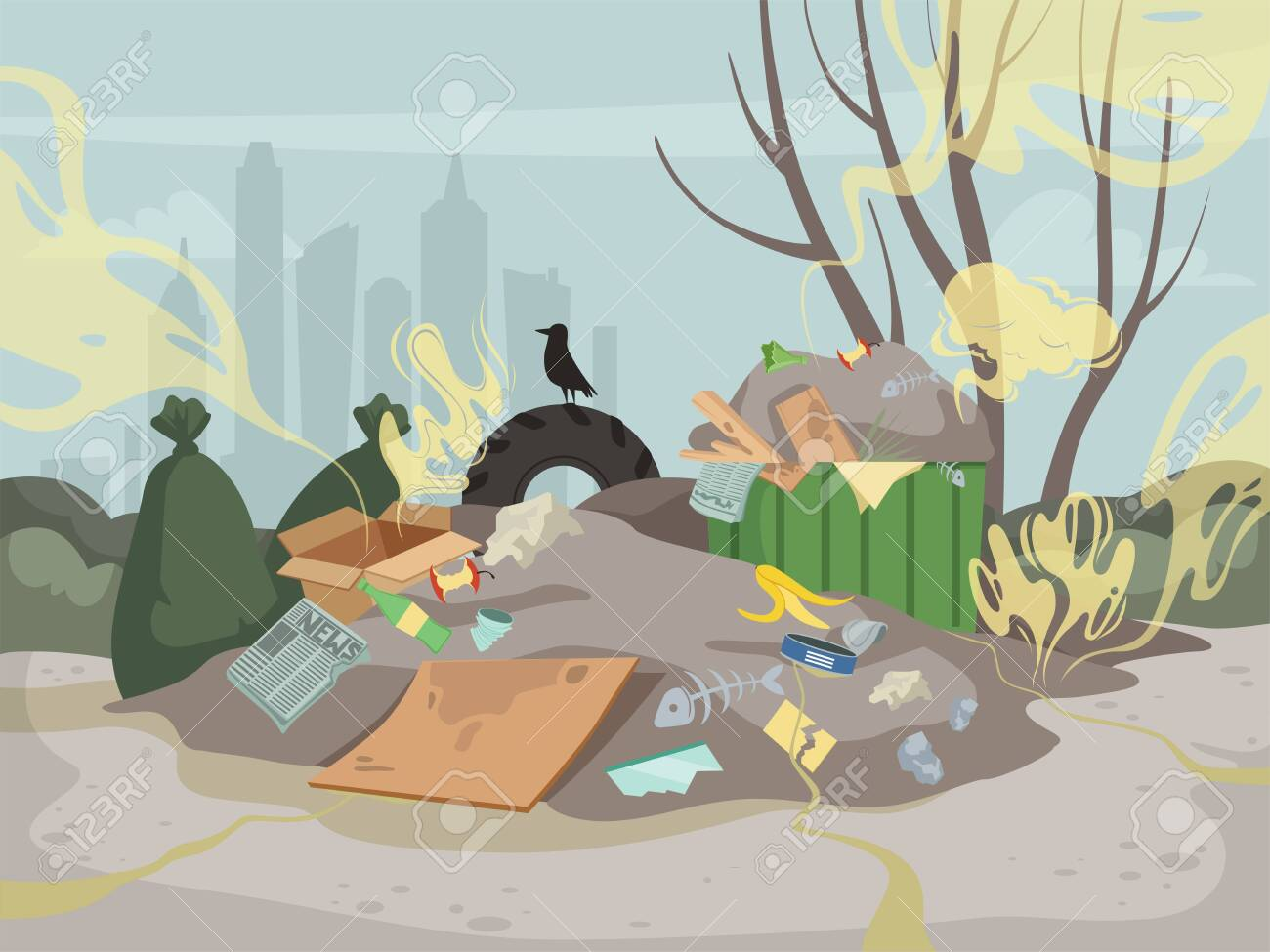 Waste smell. Toxic junk mountain garbage bad environment dump smell clouds vector background. Illustration landfill dirty problem, industry chaos rubbish - 134955487