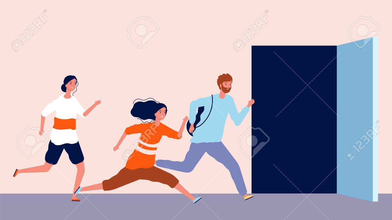 People run to open door. Being late, men and women hurry. End or beginning of working office day vector illustration. Open door and person run to opportunity - 138171465
