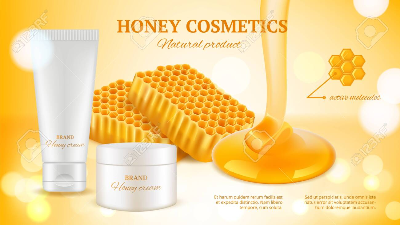 Honey Cosmetics Banner Realistic Cream Tube And Honeycombs Royalty Free Cliparts Vectors And Stock Illustration Image 138707405