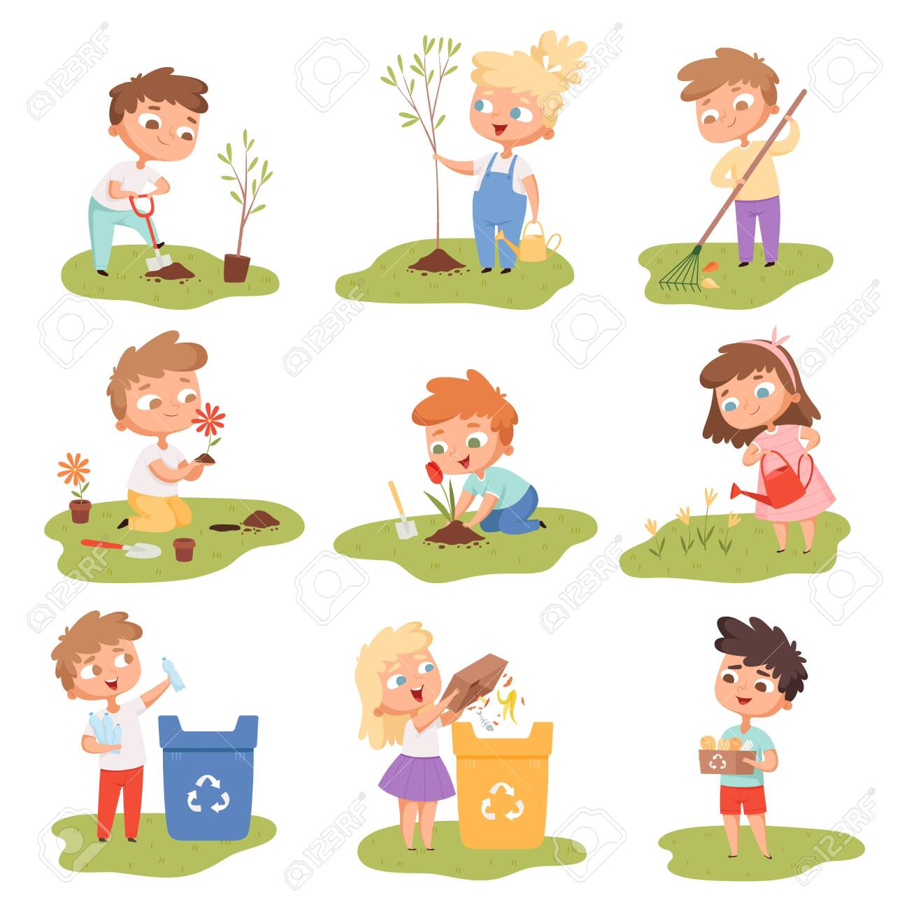 Kids planting. Happy children gardening digging picking plants eco weather protect tree vector set. Gardening illustration of kids with shovel watering and planting - 139384419