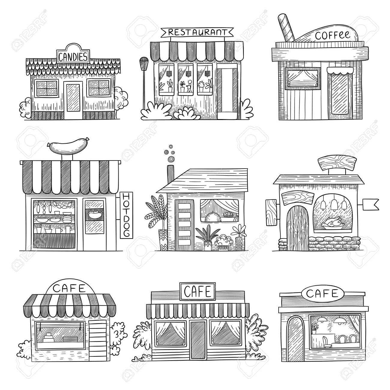 Cafe Buildings Hand Drawn Shop Restaurants Small Vector Buildings Royalty Free Cliparts Vectors And Stock Illustration Image 140902572