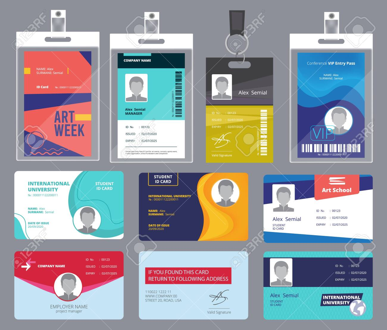Personal card id. Male or female passport or badges personal office manager business tags vector design template. Personal identity for security, id personalize illustration - 142826692