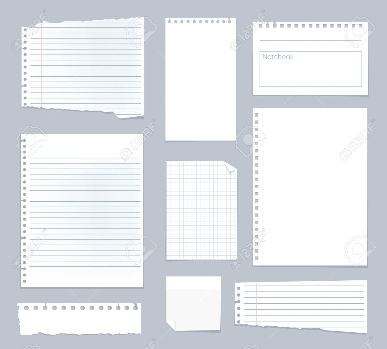 Note papers. Lined notes set stripe sheets vector notebook template. Illustration notebook paper sheet, striped page for note - 142826432