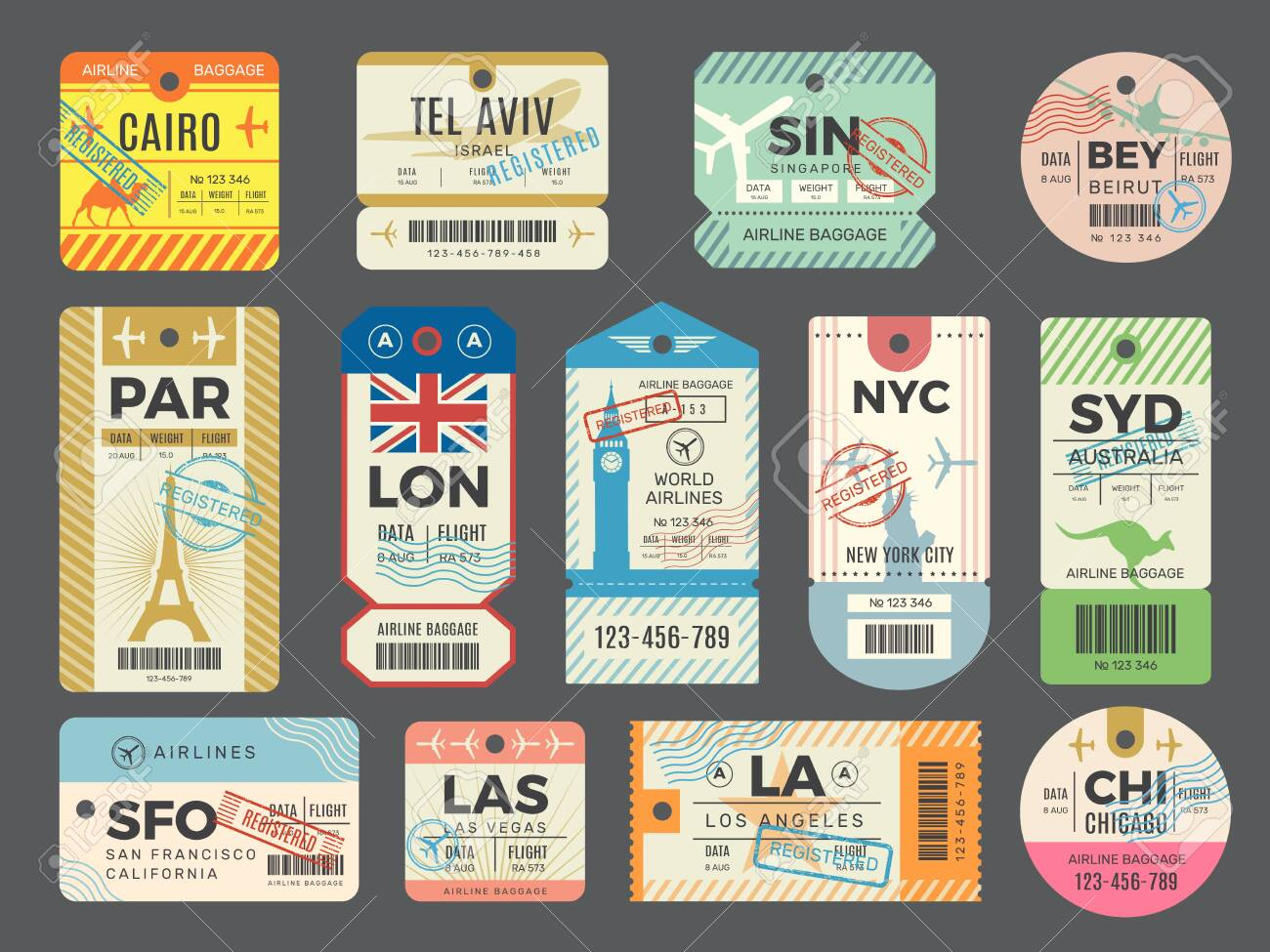 Baggage retro tags. Traveling old tickets flight labels stamps for luggage vector set. Luggage tag ticket, airplane paper baggage card illustration - 144003789